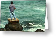 Fisherman Greeting Card by Marilyn Hunt