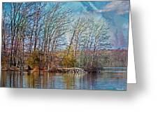 Fisherman On Burke Lake Greeting Card
