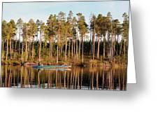 Fisherman On Evening Lake Greeting Card
