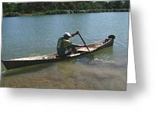 Fisherman On Wooden Canoe Greeting Card