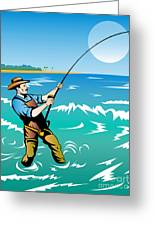 Fisherman Surf Casting Greeting Card