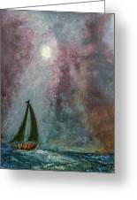 Fisherman Under Full Moon Greeting Card