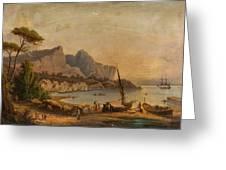 Fishermen At The Bay Greeting Card