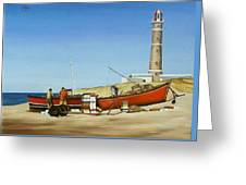 Fishermen By Lighthouse Greeting Card