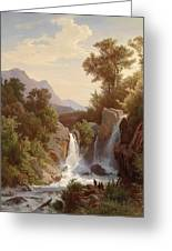 Fishermen By The Waterfall Greeting Card