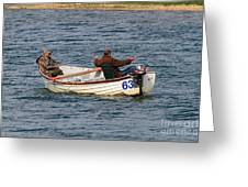 Fishermen In A Boat Greeting Card