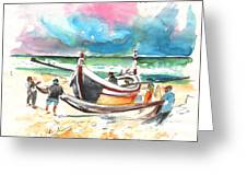 Fishermen In Praia De Mira 03 Greeting Card