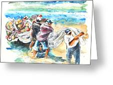 Fishermen In Praia De Mira Greeting Card