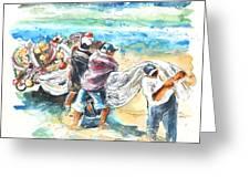 Fishermen In Praia De Mira Greeting Card