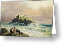 Fishermen On The Rocks Before A Castle Greeting Card
