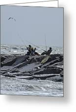 Fishermen With Seagull Greeting Card