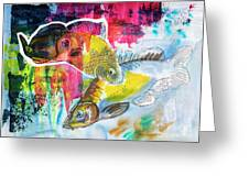 Fishes In Water, Original Painting Greeting Card