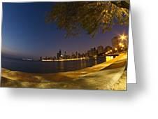Fisheye Chicago Skyline At Dawn Greeting Card