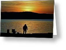 Fishing Along The Hudson Greeting Card