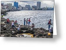 Fishing Along The Malecon Greeting Card