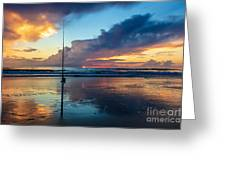 Fishing And Watching The Sunrise Greeting Card