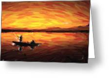 Fishing At Golden Hours Greeting Card