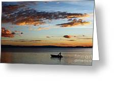 Fishing At Sunset On Lake Titicaca Greeting Card