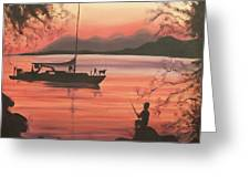 Fishing At Sunset Greeting Card by Suzanne  Marie Leclair