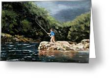 Fishing At  The Crack Of Dawn Greeting Card