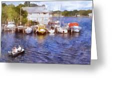 Fishing At The Marina Greeting Card