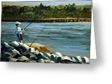 Fishing At The Point Greeting Card