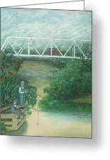 Fishing At The Pump House On White Oak Creek Greeting Card