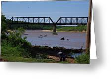 Fishing At The Red River Greeting Card