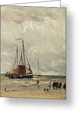 Fishing Barges At Low Tide Greeting Card