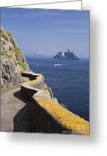 Fishing Boat Approaching Skellig Michael, County Kerry, In Spring Sunshine, Ireland Greeting Card
