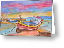 Fishing Boat At Low Tide Greeting Card