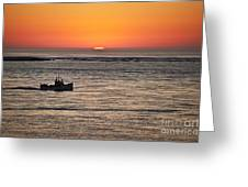 Fishing Boat At Sunrise. Greeting Card