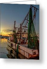 Fishing Boat At Sunset Greeting Card