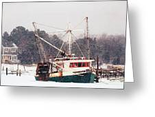 Fishing Boat Emma Rose In Winter Cape Cod Greeting Card