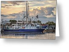 Fishing Boat In Port Greeting Card