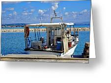 Fishing Boat Moored In The Harbor Of Katakolon Greece Greeting Card