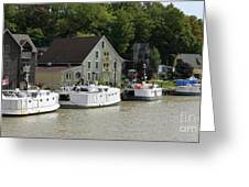 Fishing Boats All In A Row Greeting Card