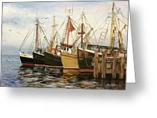 Fishing Boats At Hh Greeting Card