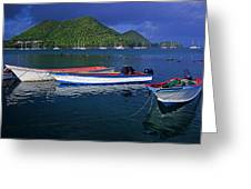 Fishing Boats At Sunrise- St Lucia Greeting Card