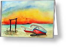 fishing boats Corozal Belize Greeting Card