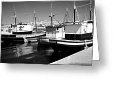 Fishing Boats Monochrome Greeting Card