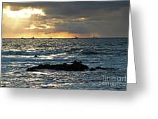 Fishing Boats Off Point Lobos Greeting Card
