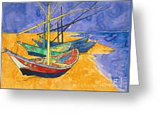 Fishing Boats On The Beach At Saintes Maries De La Mer Greeting Card