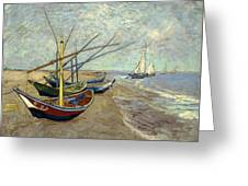 Fishing Boats On The Beach Greeting Card