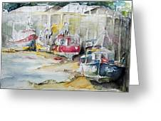 Fishing Boats Settled Aground During Ebb Tide Greeting Card