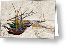 Fishing Boats Van Gogh Digital Art Greeting Card
