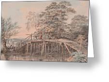 Fishing By A Footbridge Greeting Card