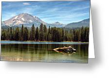 Fishing By Mount Lassen Greeting Card