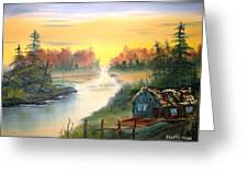 Fishing Cabin At Sunrise Greeting Card