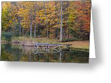 Fishing Dock In The Fall Greeting Card